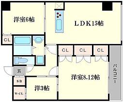 ジリオ大阪城南[6階]の間取り