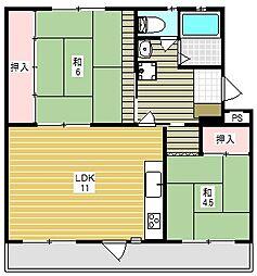 富田第二住宅76号棟[4階]の間取り