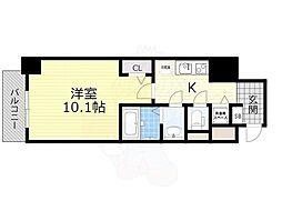 Osaka Metro堺筋線 長堀橋駅 徒歩3分の賃貸マンション 6階1Kの間取り