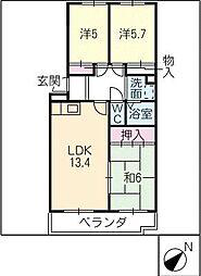 日比野ビル[3階]の間取り