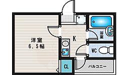 第2シャトーサンショウ 2階1Kの間取り