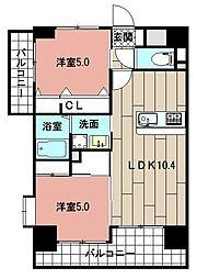 LE GRAND BLEU HAKATA 12階2LDKの間取り