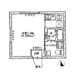 つくばエクスプレス 浅草駅 徒歩8分の賃貸マンション 2階ワンルームの間取り