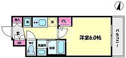 エステムコート難波サウスプレイスVIラグジー 6階1Kの間取り