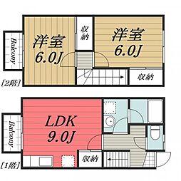 JR成田線 成田駅 徒歩19分の賃貸タウンハウス 1階2LDKの間取り