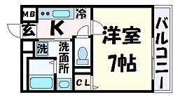 シュマンセプト神戸 1階1Kの間取り