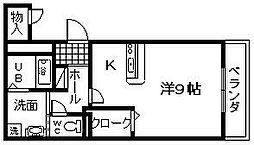 大阪府岸和田市別所町2丁目の賃貸アパートの間取り