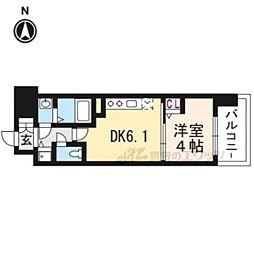 アスヴェル京都太秦210 2階1DKの間取り