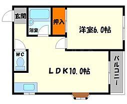 メゾンM&M 3階1LDKの間取り
