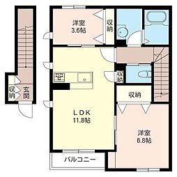 港北区日吉本町5丁目シャーメゾン (仮)[2階]の間取り