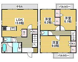 [一戸建] 大阪府堺市北区長曽根町 の賃貸【/】の間取り