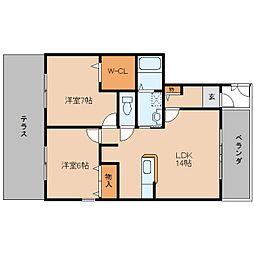 奈良県桜井市粟殿の賃貸アパートの間取り