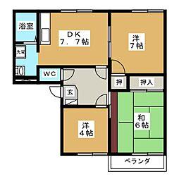 カントリーハイツ B[2階]の間取り