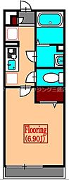 JR中央本線 武蔵境駅 徒歩18分の賃貸マンション 2階1Kの間取り