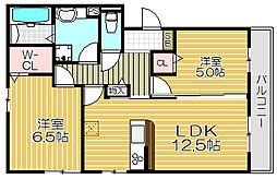大阪モノレール 南摂津駅 徒歩30分の賃貸アパート 2階2LDKの間取り