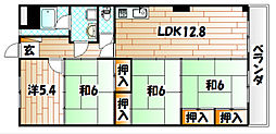 福岡県北九州市八幡東区山王2丁目の賃貸マンションの間取り