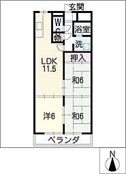 コンフォトゥール[3階]の間取り