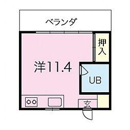 沖縄都市モノレール 首里駅 5.2kmの賃貸マンション 3階ワンルームの間取り