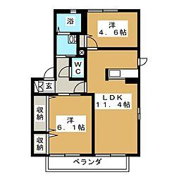 ルミエール弐番館 A[2階]の間取り