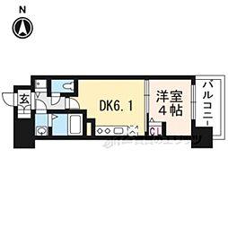京都地下鉄東西線 太秦天神川駅 徒歩6分の賃貸マンション 1階1DKの間取り