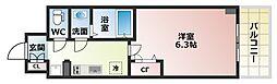 Osaka Metro谷町線 四天王寺前夕陽ヶ丘駅 徒歩6分の賃貸マンション 10階1Kの間取り