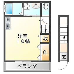 近鉄南大阪線 高鷲駅 徒歩7分の賃貸アパート 2階ワンルームの間取り