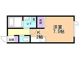 マリオット鳥取II 2階1Kの間取り