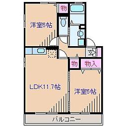 神奈川県横浜市港北区樽町4丁目の賃貸アパートの間取り