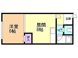 井ノ口ビル 2階1LDKの間取り