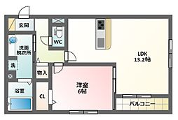 大阪府大阪市東住吉区針中野2丁目の賃貸アパートの間取り