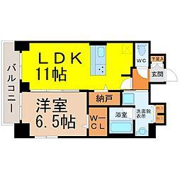 JR中央本線 鶴舞駅 徒歩5分の賃貸マンション 12階1LDKの間取り