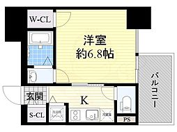 近鉄大阪線 大阪上本町駅 徒歩5分の賃貸マンション 9階1Kの間取り