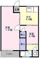 大阪府高石市綾園5丁目の賃貸マンションの間取り
