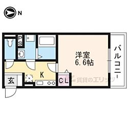 Daina e-Coco 3階1Kの間取り