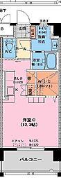 チェルシー神宮外苑 4階ワンルームの間取り