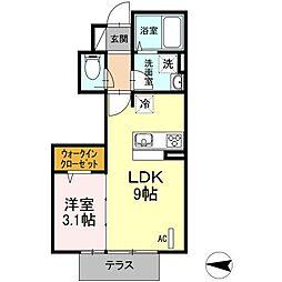 仮D-room鶴巻南[1階]の間取り