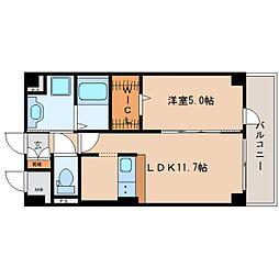 近鉄大阪線 二上駅 徒歩1分の賃貸マンション 2階1SLDKの間取り
