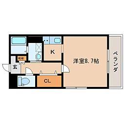 JR東海道本線 静岡駅 徒歩14分の賃貸マンション 2階1Kの間取り