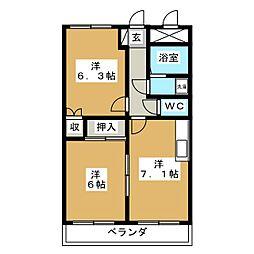 サンコート南仙台[2階]の間取り
