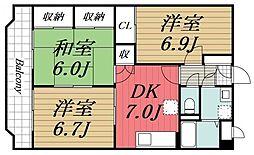 JR内房線 長浦駅 徒歩13分の賃貸マンション 2階3DKの間取り