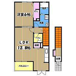 東京都青梅市新町7丁目の賃貸アパートの間取り