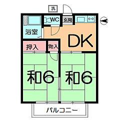 コーポ田熊[102号室]の間取り