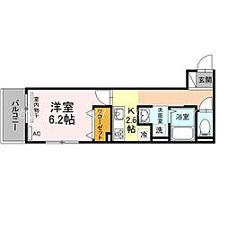 JR吉備線 備前三門駅 徒歩12分の賃貸アパート 2階1Kの間取り
