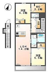 仮称)国分寺市高木町3丁目新築アパート[2階]の間取り