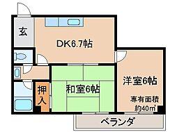 京都府京都市伏見区南尼崎町の賃貸マンションの間取り