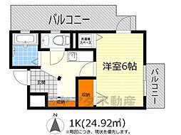 阪急箕面線 箕面駅 徒歩4分の賃貸マンション 2階1Kの間取り