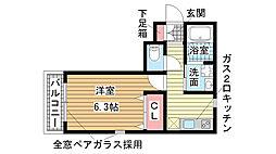 兵庫県神戸市中央区楠町1丁目の賃貸アパートの間取り