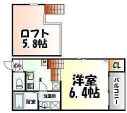 JR仙石線 中野栄駅 徒歩4分の賃貸アパート 1階1Kの間取り