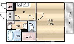 Osaka Metro御堂筋線 長居駅 徒歩5分の賃貸マンション 2階1Kの間取り