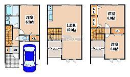 [テラスハウス] 大阪府東大阪市池島町3丁目 の賃貸【/】の間取り